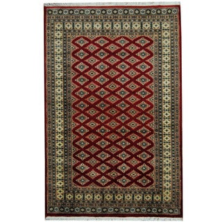 Herat Oriental Pakistani Hand-knotted Prince Bokhara Red/ Gold Wool Rug (4' x 6'3)