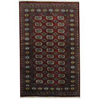 Herat Oriental Pakistani Hand-knotted Prince Bokhara Dark Red/ Gold Wool Rug (4' x 6'5)