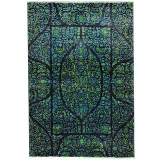 Herat Oriental Afghan Hand-knotted Vegetable Dye Kerman Navy/ Blue Wool Rug (4' x 6')