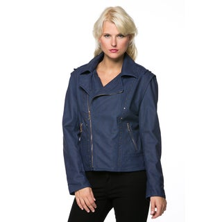 High Secret Women's Zip-up Faux Leather Moto Jacket