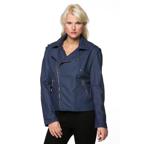 High Secret Women's Zip-up Faux Leather Moto Jacket