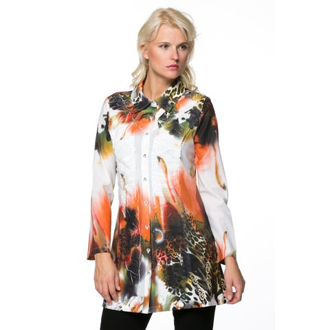 High Secret Women's Print Button Down Tunic/ Dress