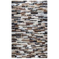 Rizzy Home Cumberland Pass CP9329 Leather Color-Blocked Area Rug - Brown - 5' x 8'