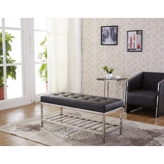 Signature Designs Modern Silver Stainless Steel Tufted Bench