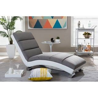 Baxton Studio Percy Modern and Contemporary Grey Fabric and White Faux Leather Upholstered Chaise Lounge