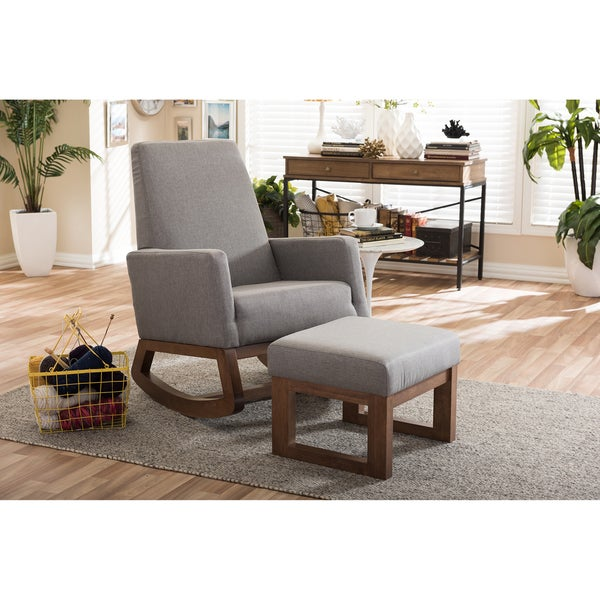 Strick U0026amp; Bolton Coleman Mid Century Modern Grey Upholstered Rocking  Chair And Ottoman Set