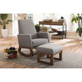 Strick & Bolton Coleman Mid-century Modern Grey Upholstered Rocking Chair and Ottoman Set
