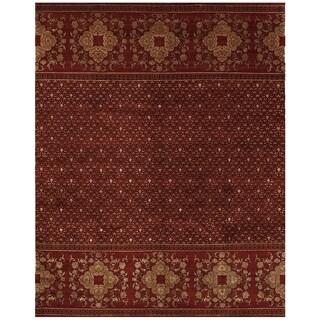 Grand Bazaar Hand-knotted Wool and Art Silk Russell Rug in Red (7'9 x 9'9)