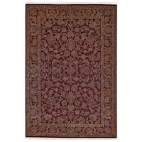 Grand Bazaar Hand-knotted Wool and Art Silk Armitage Area Rug in Burgundy/ Burgundy (7'9 x 9'9)