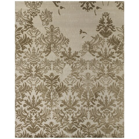 Grand Bazaar Hand-knotted Wool/ Silk/ Cotton Kooshlame Rug in Beige (2' x 3') - 2' x 3'