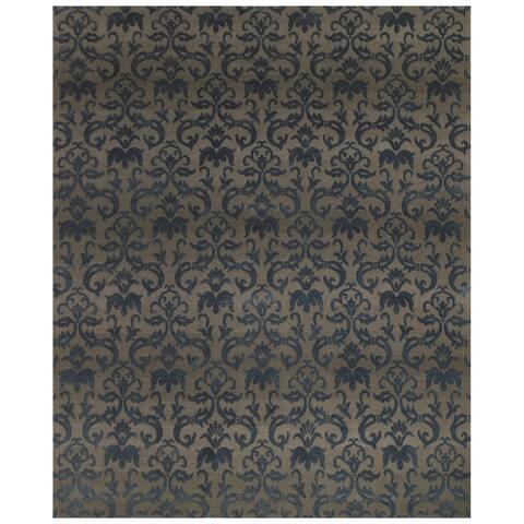 Grand Bazaar Hand-knotted Wool/ Silk/ Cotton Kooshlame Rug in Grey/ Teal (2' x 3') - 2' x 3'