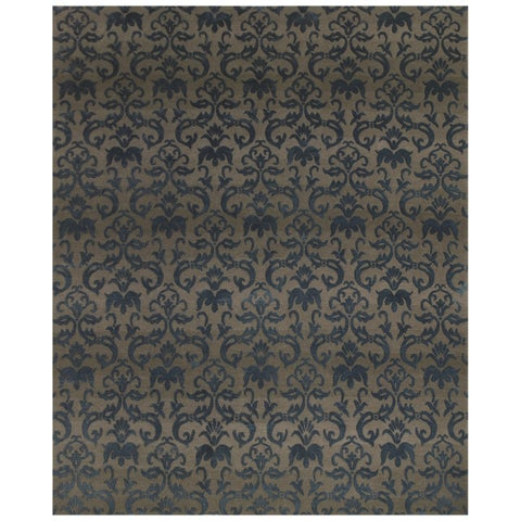 Grand Bazaar Hand-knotted Wool/ Silk/ Cotton Kooshlame Rug in Grey/ Teal (2' x 3') - 2' x 3'