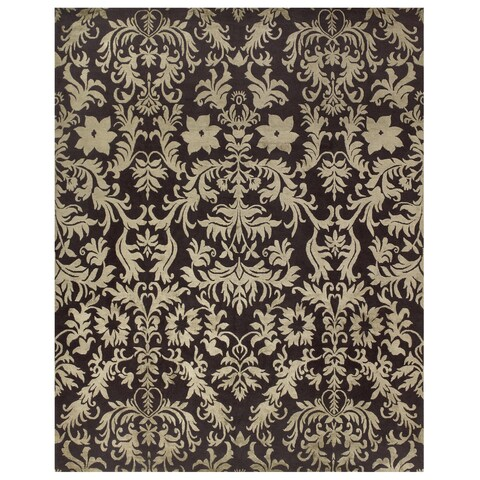 Grand Bazaar Hand-knotted Wool/ Silk/ Cotton Kooshlame Rug in Charcoal (2' x 3') - 2' x 3'
