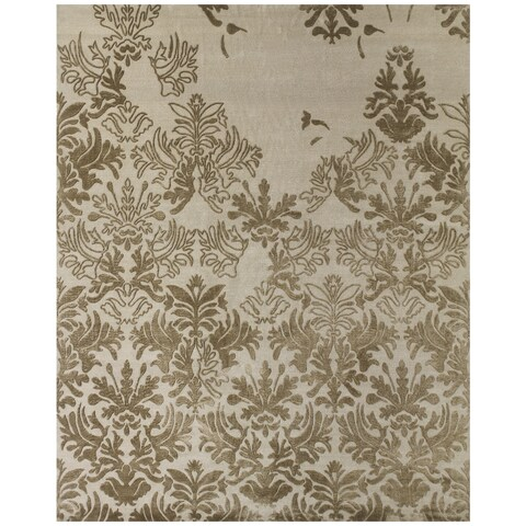 "Grand Bazaar Hand-knotted Wool/ Silk/ Cotton Kooshlame Rug in Beige (8'6 x 11'6) - 8'6"" x 11'6"""