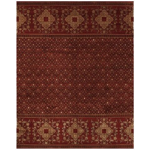 "Grand Bazaar Hand-knotted Wool and Art Silk Russell Rug in Red (9'6 x 13'6) - 9'6"" x 13'6"""