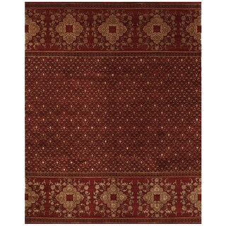 Grand Bazaar Hand-knotted Wool and Art Silk Russell Rug in Red (9'6 x 13'6)