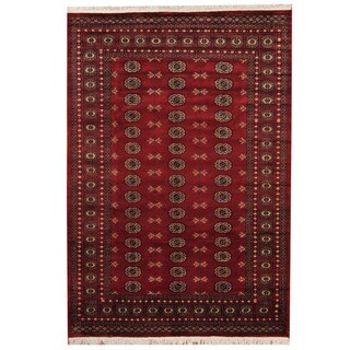 Herat Oriental Pakistani Hand-knotted Prince Bokhara Red/ Gold Wool Rug (5'8 x 8'2)