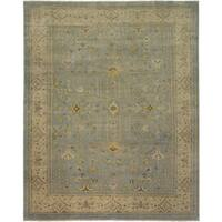 Ariel Light Blue Traditional Design Hand-knotted Rug (8'x10') - 8' x 10'
