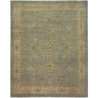 Ariel Light Blue Traditional Design Hand-knotted Rug (9'x12')