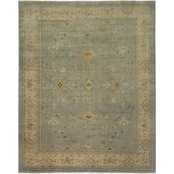 Ariel Light Blue Traditional Design Hand-knotted Rug - 10' x 14'