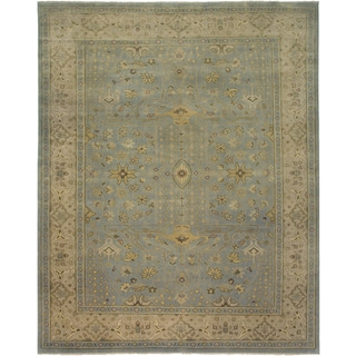 Ariel Light Blue Traditional Design Hand-knotted Rug (10'x14')
