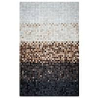 Rizzy Home Cumberland Pass CP9341 Leather Color-Blocked Area Rug (8' x 10') - 8' x 10'