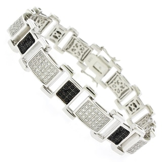 Rhodium-plated Sterling Silver Men's Black and White Cubic Zirconia Bracelet