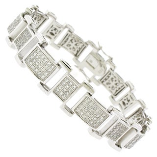 Rhodium-plated Sterling Silver Men's Cubic Zirconia Rectangular Link Bracelet