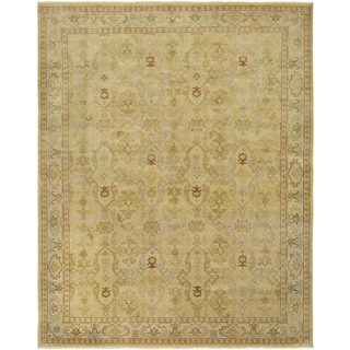 Ariel Gold and Beige Traditional Design Hand-knotted Rug (8'x10')