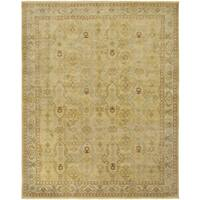 Ariel Gold and Beige Traditional Design Hand-knotted Rug - 8'x10'
