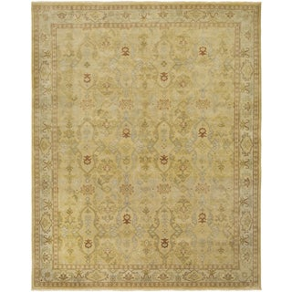 Ariel Gold and Beige Traditional Design Hand-knotted Rug (9'x12')
