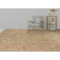 Ariel Light Green Traditional Border Design Hand-knotted Rug (9'x12')