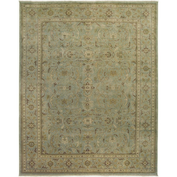 Ariel Light Green Traditional Design Hand-knotted Rug (10'x14')
