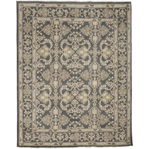 Ariel Charcoal Traditional Design Hand-knotted Rug (10'x14') - 10' x 14'