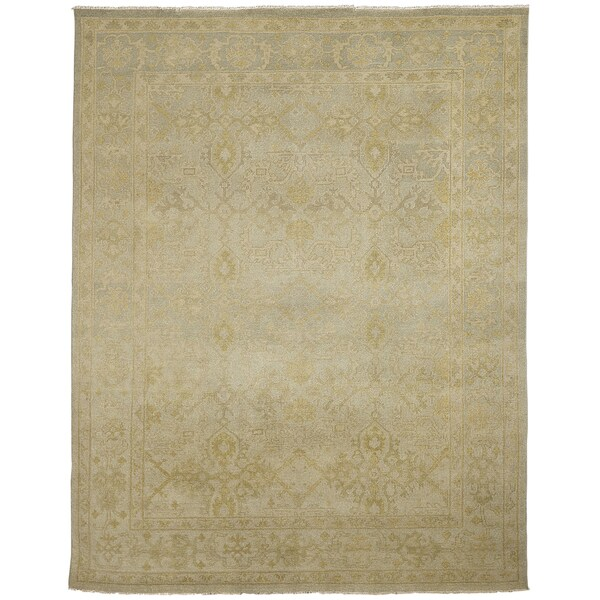 Ariel Light Green Traditional Border Design Hand-knotted Rug - 10' x 14'