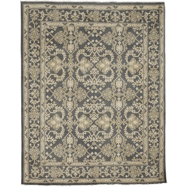 Ariel Charcoal Traditional Design Hand-knotted Rug (9'x12')