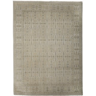 Ariel Silver Traditional Design Hand-knotted Rug (9'x12')