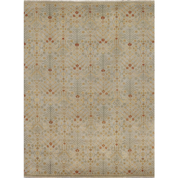 Ariel Ice Blue and Ivory Traditional Design Hand-knotted Rug (9'x12')