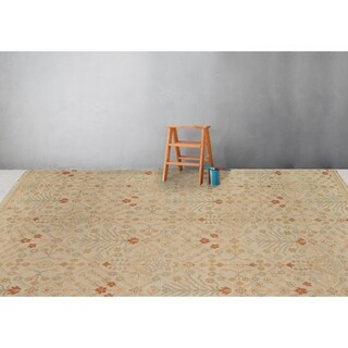 Ariel Ice Blue and Ivory Traditional Design Hand-knotted Rug - 9' x 12'