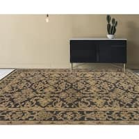 Ariel Charcoal and Beige Traditional Design Hand-knotted Rug (2'x3')
