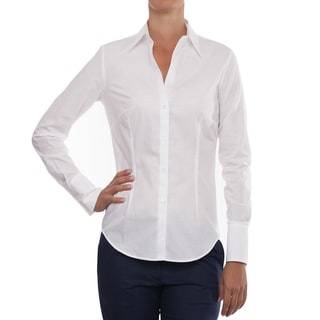 Robert Talbott White Cotton Long-Sleeve Blouse