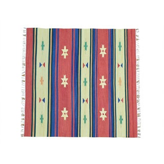 Square Flat Weave Hand-woven Killim Southwest Design Rug (6' x 6')