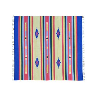 Square Hand-woven Flat Weave Killim Southwest Design Rug (6' x 6'4)