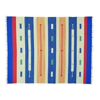 Southwest Design Flat Weave Hand-woven Killim Rug (7'10 x 10'1)