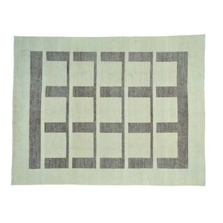 Modern Gabbeh Geometric Design Wool Hand-knotted Rug (8' x 10')