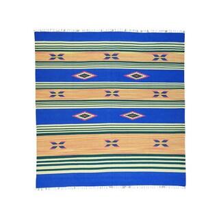 Flat Weave Killim Hand-woven Square Design Rug (9'10 x 10'2)