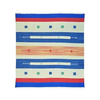 Southwest Design Flat Weave Killim Handmade Rug (10' x 10'8)