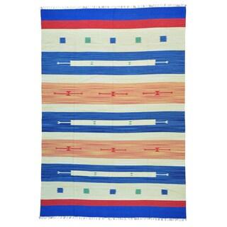 Multicolored Handmade Killim Design Flat Weave Rug (10' x 14'2)
