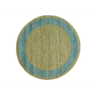 Tone-on-Tone Wool Round Hand-knotted Oriental Rug (8' x 8')