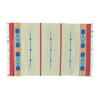Flat Weave Hand-woven Reversible Killim Southwest Design Rug (4' x 6')